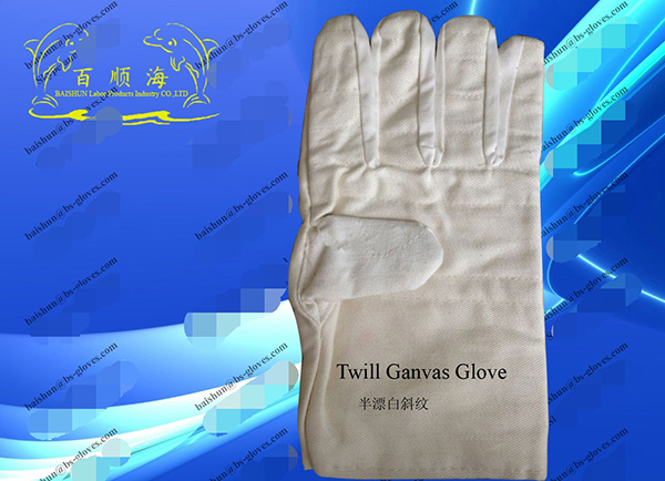 Half bleached twill canvas gloves